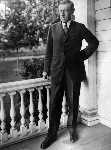 President elect Woodrow Wilson (1856-1925), at his summer home, Sea Girt New Jersey, July 1, 1912