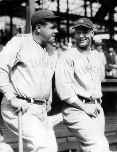 New York Yankees outfielder Babe Ruth and first baseman Lou Gehrig. c. 1927