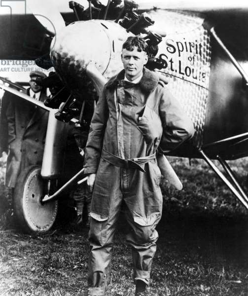 Charles Lindbergh at Curtiss Field, N.Y., in front of the Spitit of St. Louis.