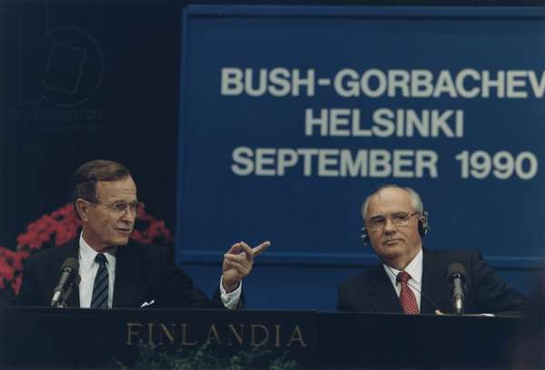 Presidents George Bush and Mikhail Gorbachev hold a press conference at the Helsinki Summit Finland. Sept. 9 1990