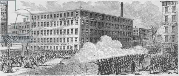 The Draft Riot battle on Second Avenue of July 16, 1863, in which Union troops opened fire on the mob, resulting in many deaths. July 16th was the fourth, and last, day of the riot