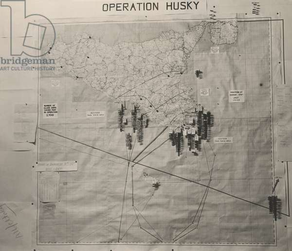 Operation Husky battle plan for the invasion of Sicily in the White House Map Room. August 1943, World War 2