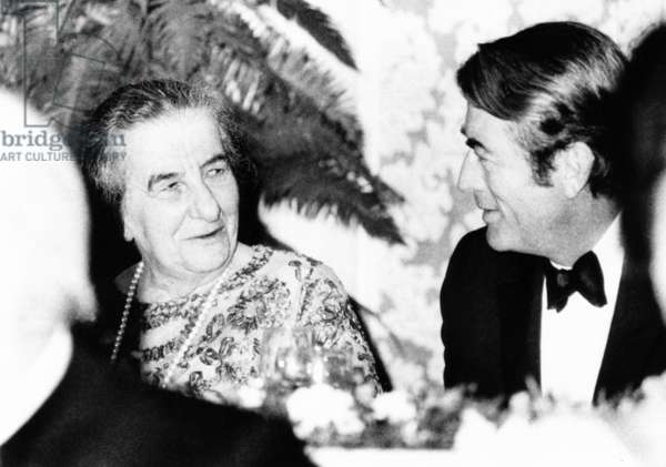 Golda Meir, Prime Minister of Israel dines with Actor Gregory Peck, Oct. 2, 1969. The motion picture and television industries sponsored the dinner in her honor