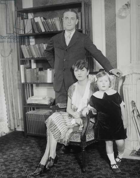 F. Scott Fitzgerald and Zelda Sayre Fitzgerald with their daughter 'Scottie' c. 1925. Named after her father, Frances Scott Fitzgerald, she became a journalist