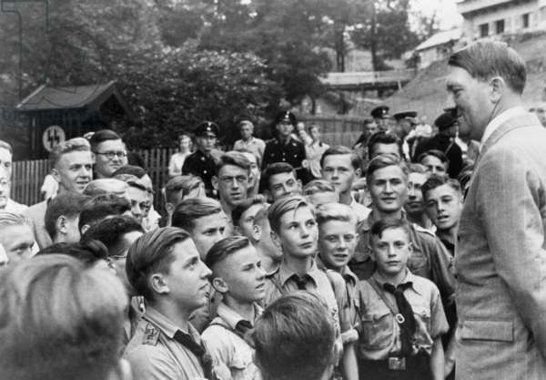 Adolf Hitler meets with boys of the Hitler-Jugend (Hitler Youth). Obersalzberg, Bavaria. c. 1937