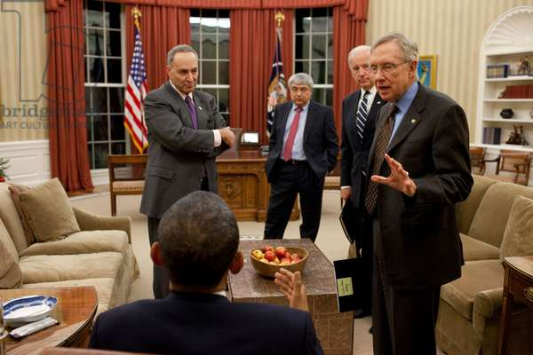 President Obama and VP Joe Biden meet with Senate Majority Leader Harry Reid and Sen. Charles Schumer after the 2010 Mid-term elections. In 2011 Schumer would assume greater visibility and positioning as Reid's successor. In background is Interim Chief (BSWH_2011_8_340)