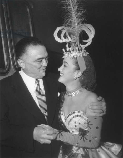 J. Edgar Hoover and actress Dorothy Lamour, looking into each others eyes. She is in costume on the set 'The Greatest Show on Earth' in 1951. She would not deny rumors that she and FBI Director Hoover had a sexual relationship, and wrote that they were lifelong friends
