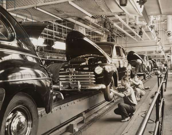Ford Motor Company assembly line in the 1930s