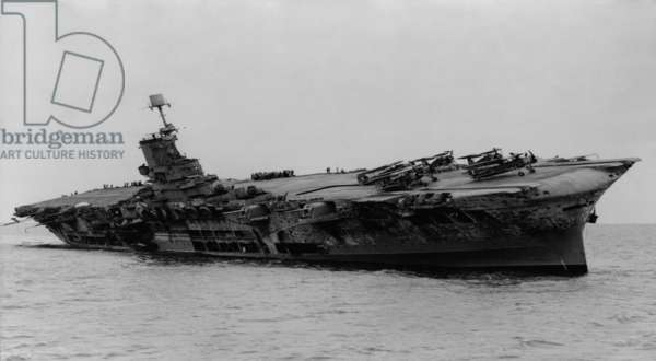 H.M.S. Ark Royal was hit by torpedoes from German submarine, U-81. She was ferrying supplies to Malta in the Mediterranean when attacked on November 13, 1941. After 14 hours the listing aircraft carrier sunk. World War 2