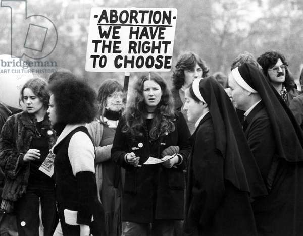 Anti-abortion rally and counter-rally in Hyde Park, London, April 28, 1974.