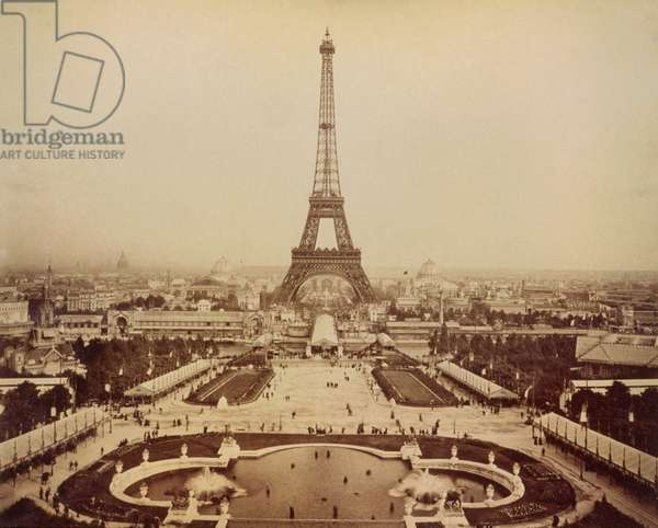 Eiffel Tower and Champ de Mars seen from Trocadero Palace, Paris Exposition, 1889
