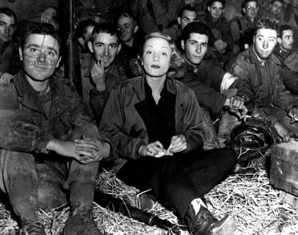 Marlene Dietrich traveling with the troops during World War II