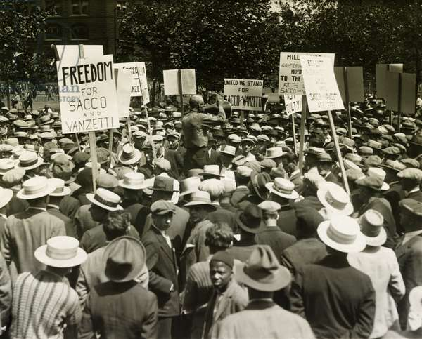 Socialists protest the death sentences of Nicola Sacco and Bartolomeo Vanzetti. Union Square, NYC. c. August 13, 1927. Signs read, 'Freedom for Sacco & Vanzetti', and 'We Stand United for Sacco and Vanzetti'.