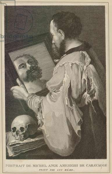 Michelangelo Caravaggio (1871-1610), Italian painter looking into a mirror. Of violent temperament, he killed a man in brawl in 1606, and died four years later at age of 39. Engraving from Matthew Pilkington, A DICTIONARY OF PAINTERS, 1867