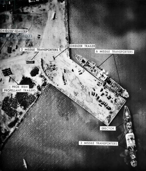 Cuban Missile Crisis: U.S. reconnaissance photo of Soviet missile site at Mariel Naval Port, Cuba, November 8, 1962