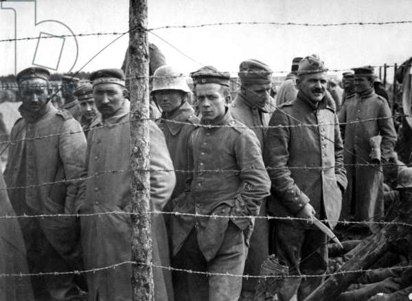German prisoners in a French prison camp. World War I. c. 1918
