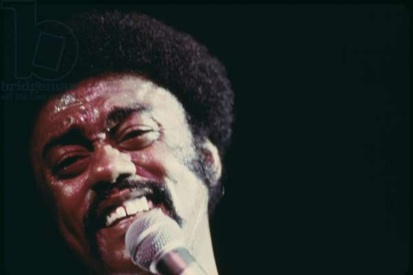 Johnnie Taylor performs in Chicago during the annual 'Black Expo' organized by Operation Push the African American non-profit organized by Jesse Jackson. Oct 1973