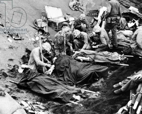 Wounded American troops at the Battle of Iwo Jima, c.1945