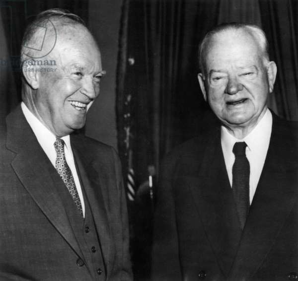 President Dwight D. Eisenhower, and Former President Herbert Hoover, Hoover mentioned to Eisenhower that the government could save  billion a year by adopting Hoover Commission recommendations, the White House, Washington DC, May 16, 1957