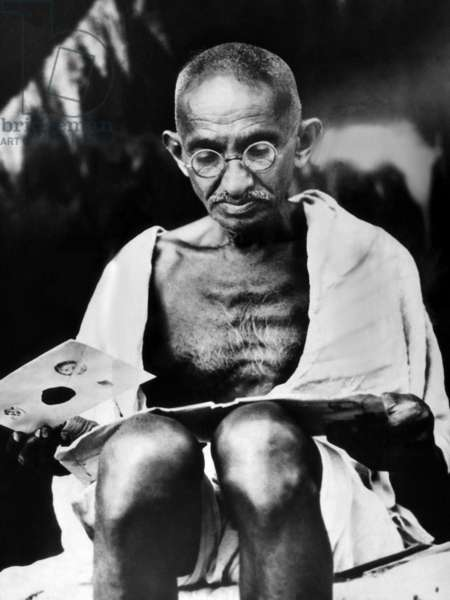 Mahatma Gandhi prepares for a hunger strike. 1939