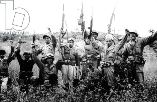 Korean War: 1st Cavalry Division with South Korean Guerillas on the 38th Parallel, Korea, 1950.