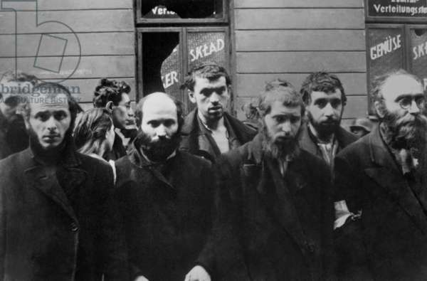 Jewish Rabbis captured by Germans during the Warsaw Ghetto Uprising, April 19-May 16, 1943. Photo from the World War 2 report of SS officer Jürgen Stroop to Heinrich Himmler