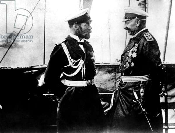 Czar Nicholas II of Russia with Kaiser Wilhelm II of Germany, early 1910s