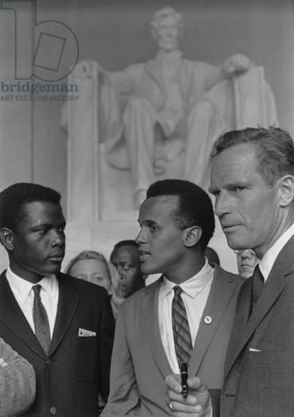 Actors Sidney Poitier, Charlton Heston and singer Harry Belafonte at the 1963 Civil Rights March on Washington. Aug. 28, 1963