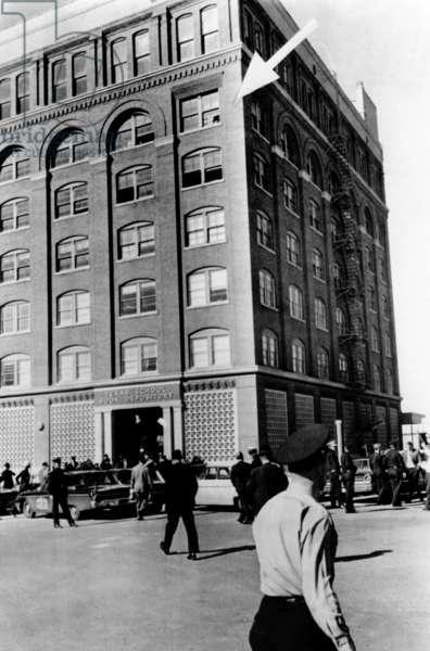 Dealey Plaza, scene of John Kennedy's assassination. Arrow points to window where the assassin fired from to kill President John Kennedy. Nov. 22, 1963