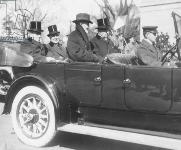 President Woodrow Wilson enroute to President-elect Warren Harding Inauguration's. March 4, 1921. In front are two of Wilson's Republican foes, Rep. Joseph Cannon (in overcoat, no top hat) and Senator Philander Knox