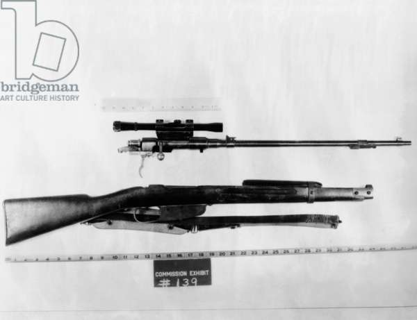 Warren Commission exhibit. Gun used by Lee Harvey Oswald to assassinate of President John Kennedy. It was a Mannlicher-Carcano rifle with a telescopic site and was found in the Texas school book depository. Nov. 22, 1963