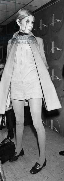 British supermodel Twiggy, (at age 17), in JFK International Airport in New York, 1967.