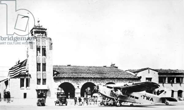 Grand Central Air Terminal, designed by Henry L. Gogerty in 1928, combines Spanish Colonial Revival style with Art Deco Moderne design. The first planes to bear the names of Jack Northrop and Howard Hughes were built at Grand Central Air Terminal. Photograph c.1929, 1310 Air Way, Glendale, Los Angeles, California