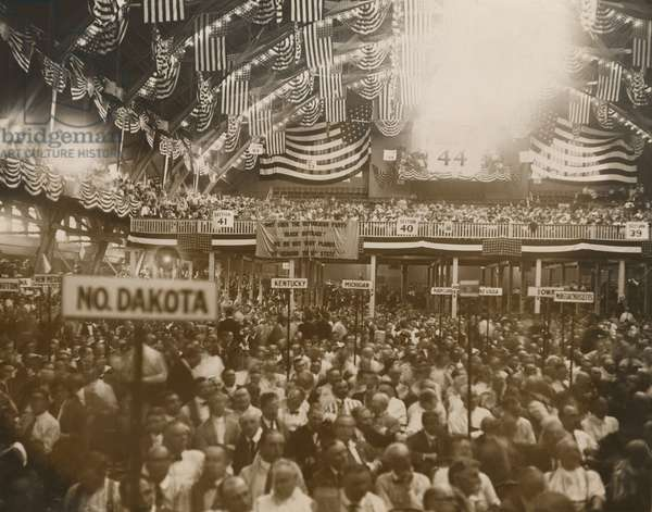 Republican Convention in Chicago, June 1920. In the background, a National Women's Party banner reads, 'Why does the Republican Party Block suffrage?' Within two months, the Tennessee legislature became the 36th state, making the 19th amendment part of the U.S. Constitution