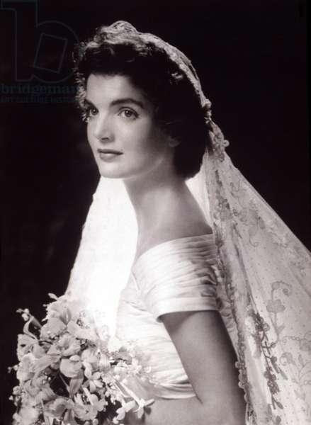 Jacqueline Bouvier Kennedy's wedding picture, 1953.