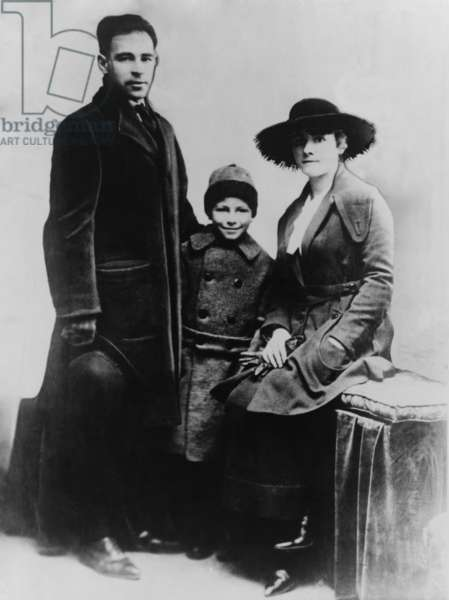 Nicola Sacco (1891-1927), with wife and son, in a photo he used to apply for a passport at the Italian consulate in Boston on April 15, 1920. His visit to the consulate was Sacco's alibi for the day of the payroll murder, and was confirmed in sworn statement by consulate employee Giuseppe Andrower