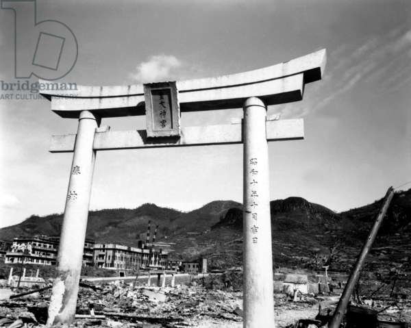Ruins of Nagasaki, Japan, after atomic bombing of August 9, 1945. The arch of a Shinto shrine survived the blast and heat. Oct. 1945