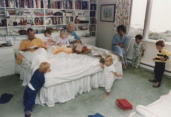 Vice President and Barbara Bush surrounded by their grandchildren in their bedroom at their summer home in Kennebunkport Maine. L-R Pierce Barbara Jenna Marshall daugher-in-law Margaret Bush Jeb Jr. and Sam