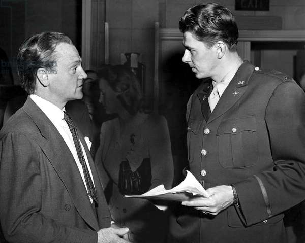 James Cagney, Ronald Reagan at a 'Salute to the Army' event, January, 1943