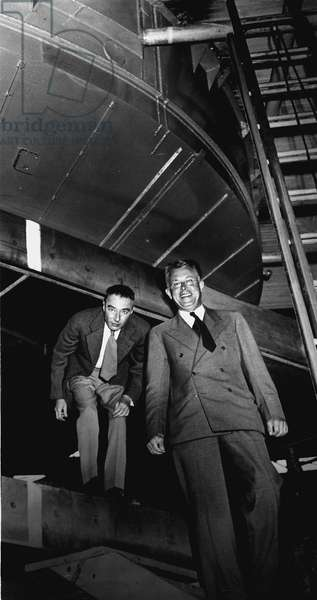 Robert Oppenheimer and Ernest Lawrence at the 184-inch cyclotron in 1946. Radiation Laboratory, University of California, Berkeley,