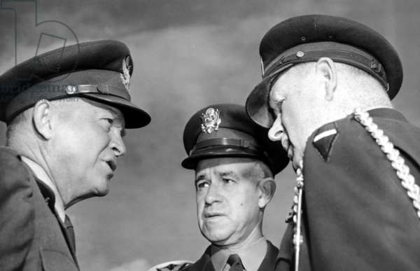 General Omar N. Bradley (ctr) with, General Dwight D. Eisenhower(left), and Brig. General Joseph O'Hare, 1951