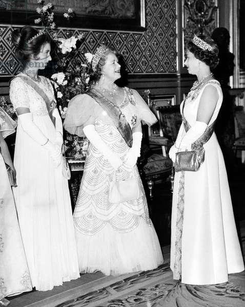 Princess Anne, Queen Elizabeth (the Queen Mother), Queen Elizabeth II, Windsor Castle, England, 1972.