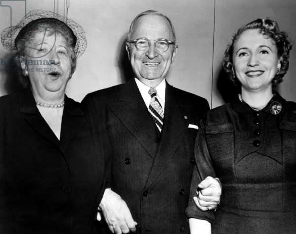 Former U.S. President Harry Truman (center), with wife Bess Truman (far left), and daughter Margaret Truman (far right), c. 1950s.