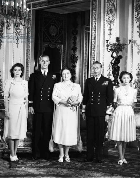 British Royal Family. From left: Future British Queen Princess Elizabeth, Future Prince Philip, Duke of Edinburgh Lt. Philip Mountbatten, British Queen Elizabeth (future Queen Mother), British King George VI, Future Countess of Snowdon Princess Margaret, 1947