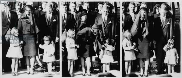 Kennedy family following Requiem mass for the assassinated President. Photo sequence shows Jacqueline Kennedy leaning to speak to her son, and John Kennedy Jr. saluting his father's coffin. Nov. 22, 1963