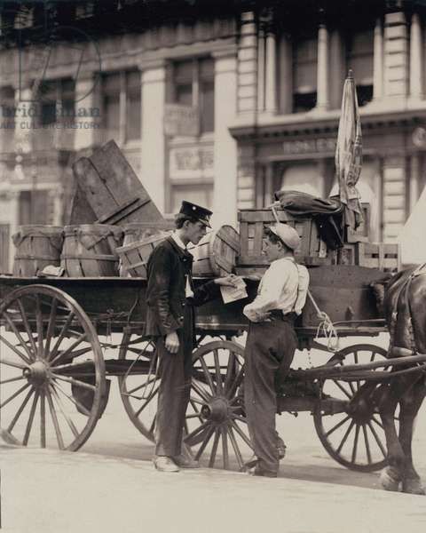 Messenger boys on a hurry call in Union Square, New York City, photograph by Lewis Wickes Hine, July, 1910