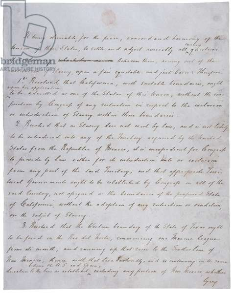 Compromise of 1850. Resolution introduced by Senator Henry Clay. Henry Clay's handwritten draft. 1850