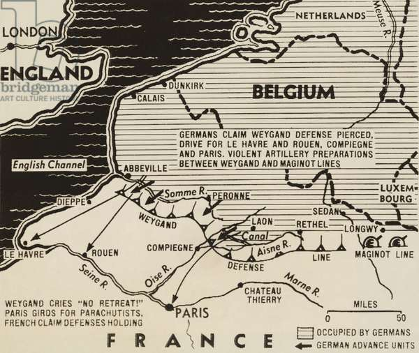 Map of German World War 2 invasion and Allied resistance in early June 1940. The British evacuated over 330,000 solders from Dunkirk between May 26-June 4. The Western defense, headed by General Maxine Wegland collapsed within 10 days