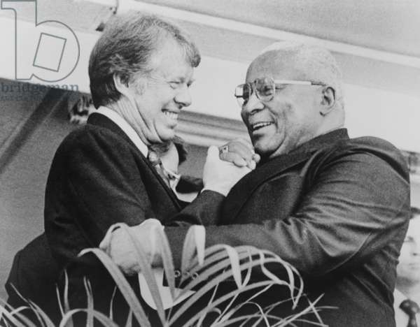 Jimmy Carter, shaking hands with Rev. Martin Luther King, Sr. in 1976. King, Sr. supported Carter in his 1970 successful campaign for Georgia Governor