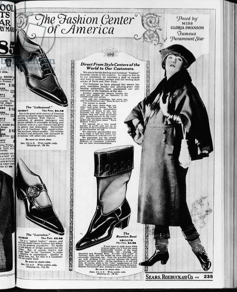 A page from a 1922 Sears Roebuck catalog offering 'The Russian Boot' costing .98 a pair, and 'Posed by Miss Gloria Swanson, Famous Paramount Star.' Photo: